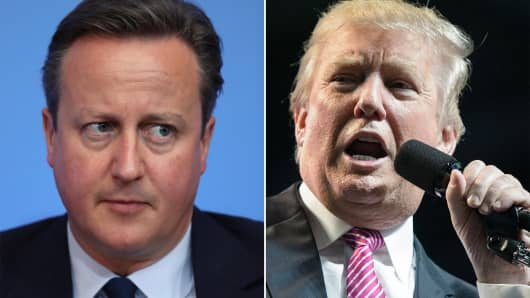 Prime Minister of the United Kingdom, David Cameron and Republican presidential candidate, Donald Trump