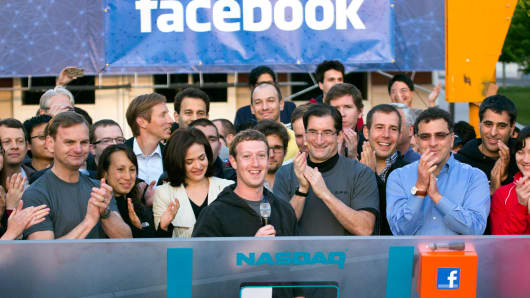 Facebook CEO Mark Zuckerberg speaks during the remote bell ringing ceremony for the opening of trading, May 18, 2012.