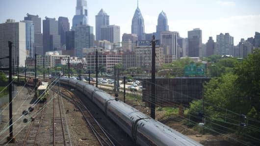 Philadelphia skyline with train
