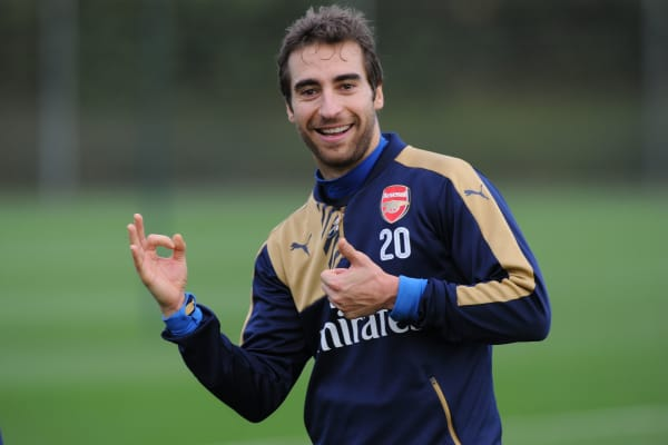 Mathieu Flamini of Arsenal during a training session at London Colney on December 4, 2015 in St Albans, England.
