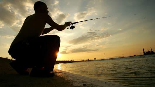 Man Fishing, silhouette