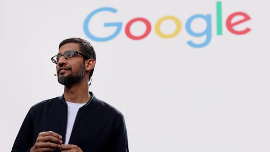Google CEO Sundar Pichai speaks during Google I/O 2016 at Shoreline Amphitheatre