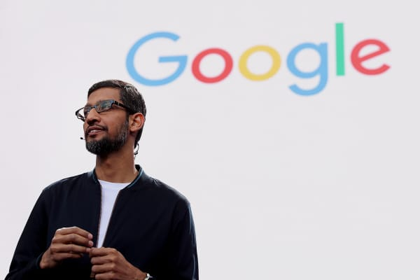 Google CEO Sundar Pichai speaks at the company's 2016 Google I/O conference in Mountain View, Calif.