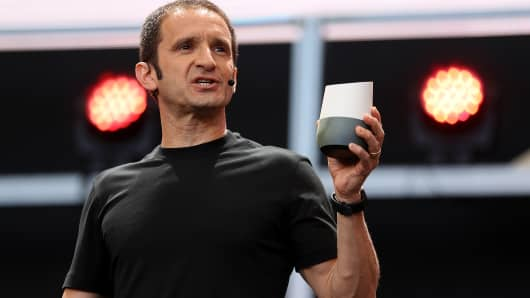 Google's Mario Queiroz shows the Google Home on May 19, 2016 in Mountain View, California.