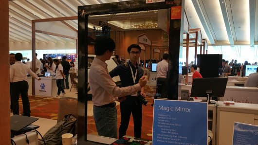 Microsoft's smart mirror, called Magic Mirror, and showcased at the InnovFest Unbound 2016, a digital technology conference in Singapore, has a facial recognition feature and can tell the weather, date, time and location.