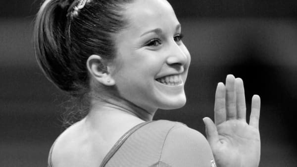 Carly Patterson after winning the gold medal at the Women's Artistic Gymnastics Individual All-Around Final at the 2004 Olympic Games at the in Athens, Greece.