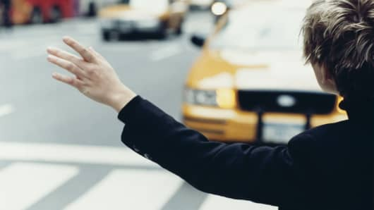 Hailing a cab, NYC Taxi