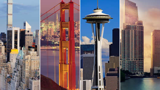 Skylines (l-r): New York City, San Francisco, Seattle and Miami.