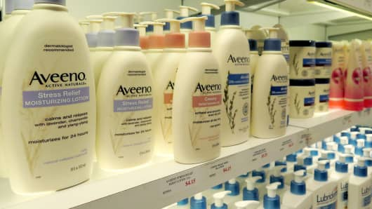 Aveeno skincare, a Johnson & Johnson product.