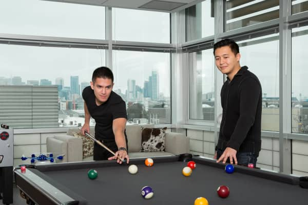 CEO Jerry Hum and CSO Dennis Liu pictured at the office. They are two of the company's four co-founders.