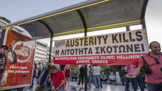 Greeks demonstrate in Athens coping the Nuis Debout movement in France, calling for general disobedience against austerity in Greece.