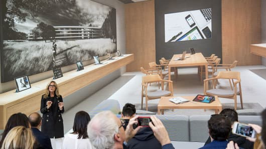 Angela Ahrendts, senior vice president of retail at Apple, shows what The Boardroom space in the company's new Union Square, San Francisco store will look like, on May 19, 2016.