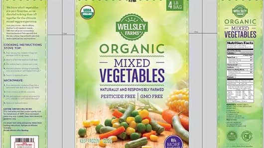 Organic Mixed Vegetables from Wellsley Farms has been recalled stated by the FDA