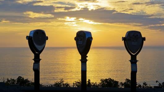 Sunrise with tourist views, positive