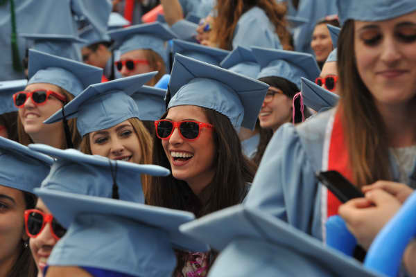 Graduating students from Barnard College during the Columbia University 2016 Commencement ceremony in New York May 18, 2016.