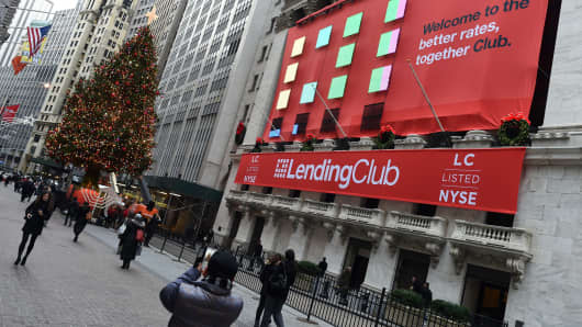 Lending Club banners hang on the facade of the New York Stock Exchange for it's IPO on December 11, 2014 in New York.