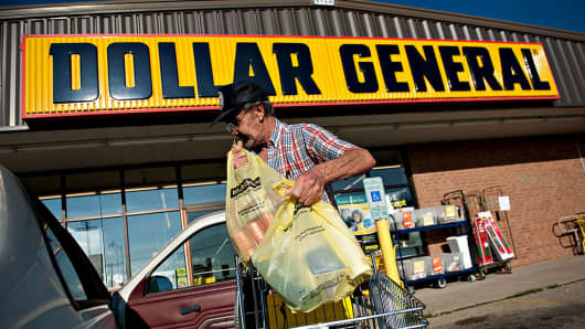A shopper at a Dollar General store