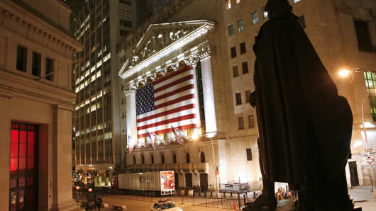 NYSE at night exterior, after hours