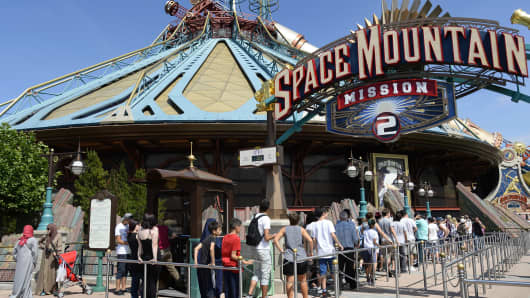 Space Mountain attraction at Disneyland Paris