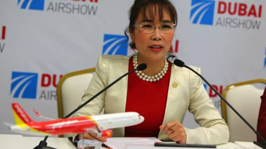 VietJet founder Nguyen Thi Phuong Thao speaks at a press conference in Dubai in November 2015. In less than five years, the businesswoman has turned VietJet into a serious rival to flagship carrier Vietnam Airlines.