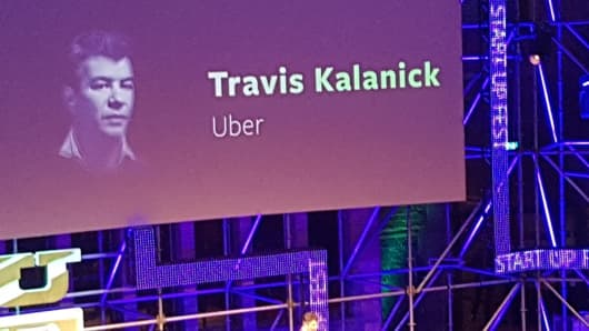 Uber CEO, Travis Kalanick speaking at the Start-up Fest conference in Amsterdam