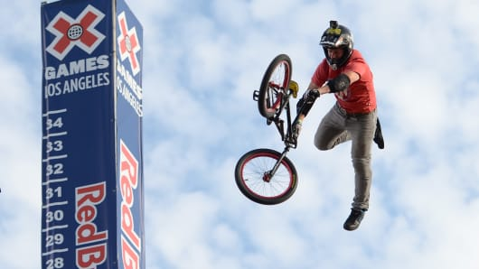 Morgan Wade competes to a gold in the GoPro BMX Big Air final during X Games Los Angeles at the Irwindale Event Center on August 2, 2013, in California.
