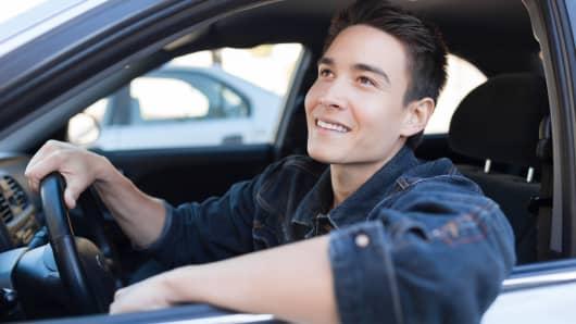 Millennial driving car
