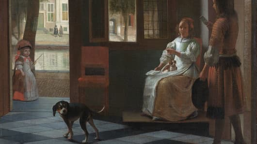 """Man hands a letter to a woman in a hall"" by Pieter de Hooch"