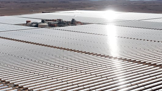 An aerial view of the solar mirrors at the Noor 1 Concentrated Solar Power plant, outside the central Moroccan town of Ouarzazate, February 4, 2016.