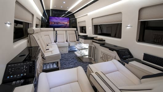 Interior view of Becker Automotive Design's JetVan.