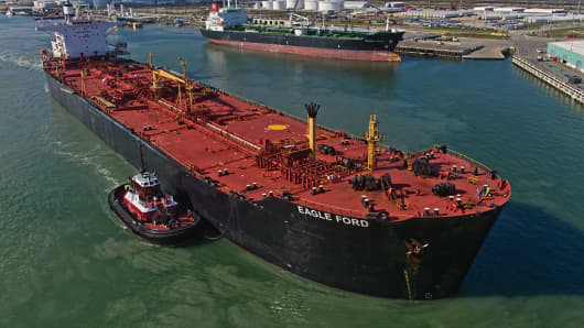 The Eagle Ford crude oil tanker sails out of the the NuStar Energy dock at the Port of Corpus Christi in Corpus Christi, Texas.