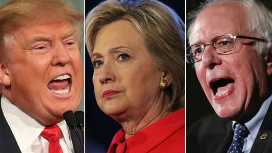 Republican presidential candidate Donald Trump (l) and Democratic presidential candidates Hillary Clinton and Bernie Sanders (c, r).