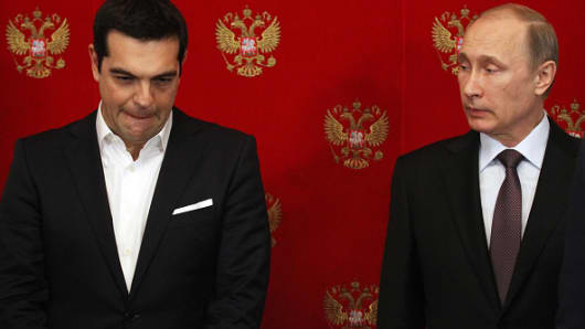Russian President Vladimir Putin and Greek Prime Minister Alexis Tsipras together in April 2015.