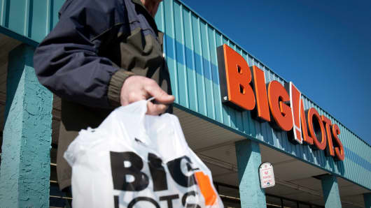 A customer exits a Big Lots store in Clifton, New Jersey.