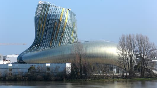 A picture taken on March 14, 2016 in Bordeaux, southwestern France, shows a general view of the Wine Civilisations Museum (Cite des civilisations du vin). The official opening of the 14,000 m2 building, designed by the architects Nicolas Desmazieres and Anouk Legendre from X-TU agency, is scheduled for June 2016.