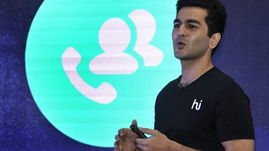 Hike Messenger CEO and founder Kavin Mittal, son of telecom czar Sunil Bharti Mittal, addresses a press conference at the launch of 'Hike Direct' on October 8, 2015 in New Delhi, India.