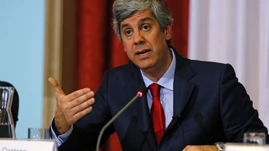 Portuguese Finance Minister Mario Centeno gestures as he speaks during a press conference to present the state budget in Lisbon on February 5, 2016.