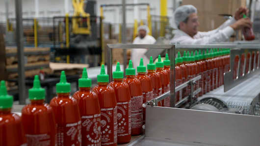 Sriracha Hot Chili Sauce is bottled at the Huy Fong Foods plant in Irwindale, California.