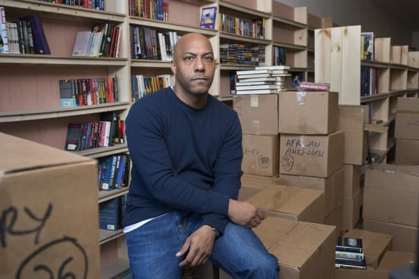 Pablo Sierra, who has no background in books but is getting into it because there is strong demand is photographed at the Walls of Books bookstore in Washington, D.C. on December 07, 2015.