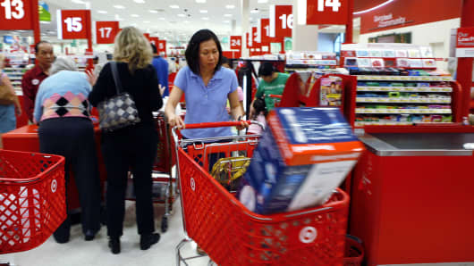 Shoppers check out at a Target store in Falls Church, Virginia.