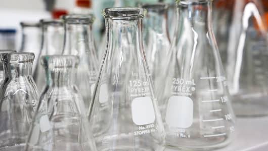 Lab beakers at Spark Therapeutics in Philadelphia, PA.