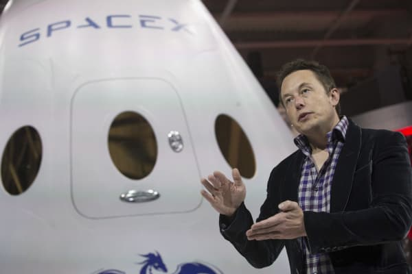 SpaceX CEO Elon Musk at the unveiling event of the Dragon V2 in Hawthorne, California, May 29, 2014