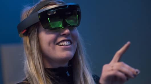 The Microsoft HoloLens, an augmented reality (AR) viewer, being demonstrated in California