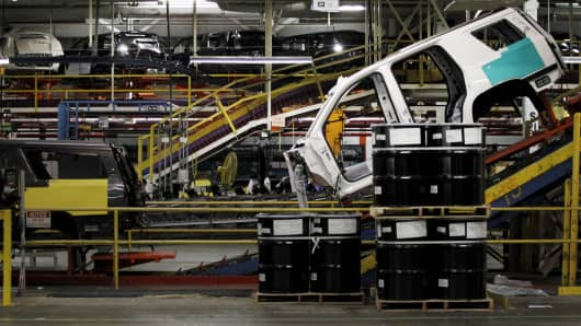 An SUV moves through the assembly line at the General Motors Assembly Plant in Arlington, Texas.