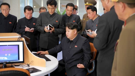 North Korean leader Kim Jong Un gives field guidance at the Sci-Tech Complex, in this undated photo released by North Korea's Korean Central News Agency (KCNA) in Pyongyang October 28, 2015.
