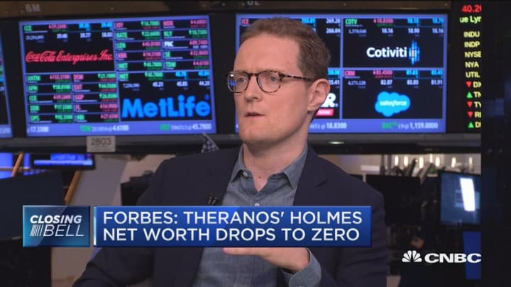 Forbes: Theranos' Holmes net worth drops to zero