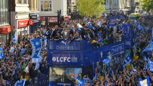 Leicester City, winners of the 2016 Premier League title, take part in an open-top bus parade through Leicester to celebrate  on May 16, 2016.