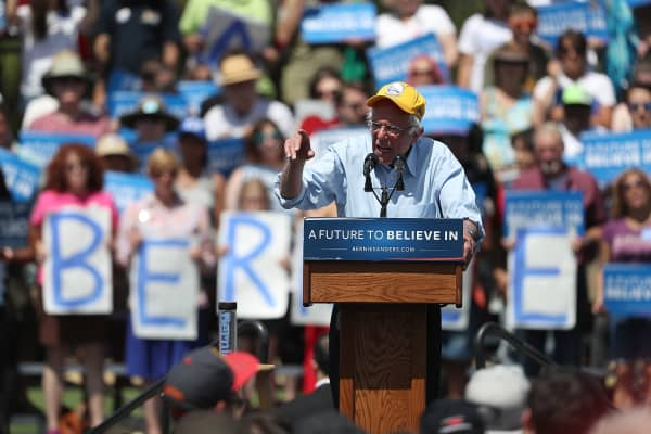 Democratic presidential candidate, U.S. Sen. Bernie Sanders (D-VT) speaks during a campaign rally at Cubberley Community Center on June 1, 2016 in Palo Alto, California