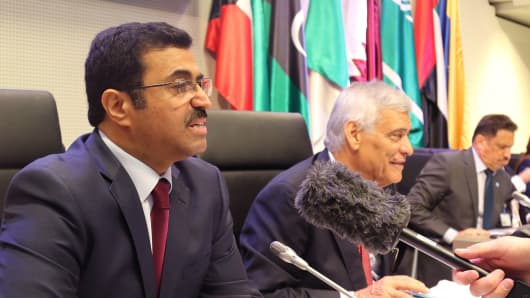Dr. Mohammed Bin Saleh Al-Sada, Qatar's Minister of Energy & Industry, at the OPEC meeting on June 2, 2016 in Vienna, with Abdalla Salem El-Badri, OPEC Secretary General, seated beside him.