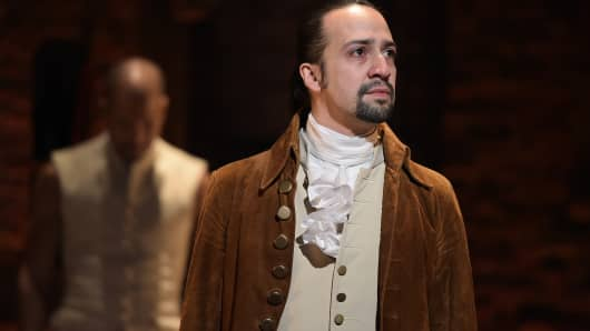 "Actor, composer Lin-Manuel Miranda performs on stage during ""Hamilton"""